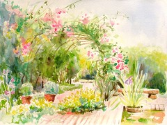 La bonne maison_ Ste Foy les Lyons (geneterre69) Tags: fleurs aquarelle jardin
