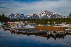 Canoes on the Water (Plain Adventure) Tags: lake mountains boats grandtetonnationalpark