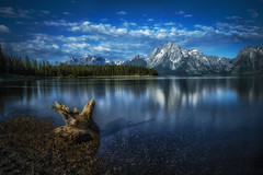 A New Day at the Grand Tetons (Marc Perrella) Tags: gtnp summer blue calmpeacfeul clouds color grandtetons lake morning mountain outdoors reflection tetons travel water wy wyoming
