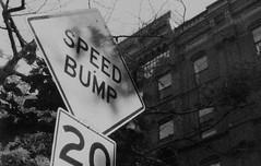 Speed Bump in New York (forwardcameras) Tags: caffenolc olympusom10 kentmere100 35mm newyork