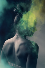 toxic (jana-elise) Tags: doubleexposure girl portrait blackandwhite mysterious mystery woman clouds green blue vibrant nude anonymous