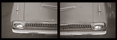 Ranchero (efo) Tags: auto bw ford car diptych hood grille chevron ranchero olympus35rc