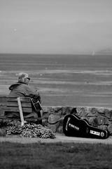 """""""My grass is blue."""" (davidpompel) Tags: streetmusician guitarist bluegrass bnw blackwhite canon parkbench"""