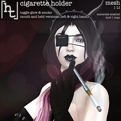 [ht:apparel] cigarette holder (Corvus Szpiegel) Tags: hate this apparel genre burlesque cigarette holder smoke original mesh particle black gold silver photo pose prop avatar attachment mouth hand sl second life secondlife