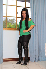 Green Top and Boots (johnerly03) Tags: erly philippines asian fashion filipina thigh black high heel boots long hair leather