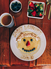 Happy Fathers Day (Robert Lang Photography) Tags: adecoratedpancakefaceforafathersdaybreakfast art australia blueberries blueberry bowl breakfast colour cup cutlery dad decoration early eat eating face family father fathersday food fruit gift greentea love meal morning mug plate strawberries strawberry sunday sweet table tea vertical weekend whippedcream yummy robertlangphotography robertlang robertlangportlincoln robertlangaustralia wwwrobertlangcomau