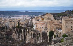 Hanging houses of Cuenca panoramic. Spain. (marozn) Tags: cuenca town medieval destination hanging travel spain view rock day province landmark valley old traditional castillalamancha building historic tall unesco ravine heritage famous high architecture city cliffside scenic house cliff bridge site europe landscape spring summer beautiful castilla center charming classical construction culture exterior height hill home tourism