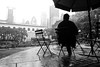 Alone in Bryant Park (Airicsson) Tags: street nyc urban bw newyork rain lumix manhattan midtown bryantpark lx7 camillelacroix