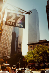 New York 1999 Park Row 27 (eatmymoto) Tags: city summer sky urban usa newyork hot america skyscraper big manhattan postcard worldtradecenter parkrow 1999 business twintowers independenceday 27 staples musicworld summer1999