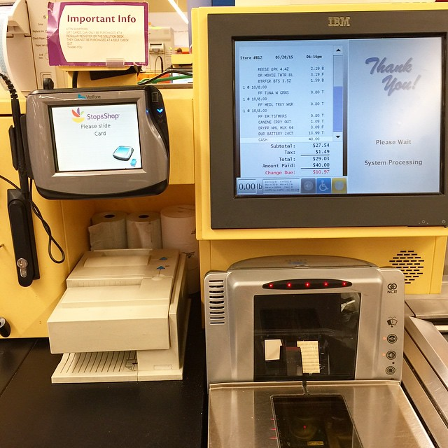 The self-service checkout at the Stop and Shop in Westwood, New Jersey. Its incredibly easy and efficient to use. You put your goods on the scanner, barcode-side down, one at a time, and the scanner flashes and beeps and shows you the price, echoed by th