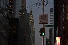 Buses Only (klestaaaaaa) Tags: new york city nyc newyorkcity travel urban usa travelling dusk unitedstatesofamerica broadway tourist manual chryslerbuilding