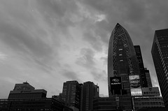 193/366 : Cocoon and the Moon (hidesax) Tags: leica sky japan buildings tokyo shinjuku cityscape cloudy dusk x rainyseason vario 365project cocoontower 366project 193366 hidesax cocoonandthemoon 36project2016