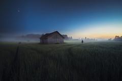 Summer lost. (Night photographs from Finland) Tags: finland field night sky mood moon mystical colorful misty fog summer hurt canon5d samyang14mm barn mika suutari