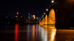 Mississippi Under the Bridge (madentropy) Tags: city bridge river mississippi minneapolis nighttime