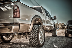 122 (Strangely Different) Tags: diesel chevy 1500 powerstroke ford silverado slammed jacked force american 22x14 1958 delray
