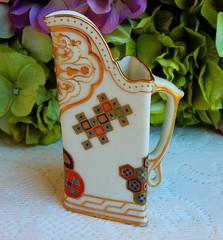 Antique Royal Worcester Porcelain Pitcher Creamer Floral ~ Gold 1867 (Donna's Collectables) Tags: antique royal worcester porcelain pitcher creamer floral ~ gold 1867
