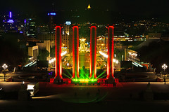 Barcelona by night. The Four Columns (Andrey Sulitskiy) Tags: spain barcelona