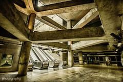 Golden Brown (Alex Chilli) Tags: london underground tube metro subway concourse escalator station jubileeline