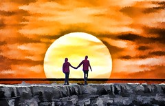 Lovers Stroll to the Setting Sun (Rusty Russ) Tags: rockland rockport maine jetty lighthouse rocks love lovers moon sun sea photoshop flickr google bing daum yahoo image stumbleupon facebook getty national geographic magazine creative creativity montage composite manipulation color hue saturation flickrhivemind pinterest reddit flickriver pixelpeeper blog blogs openuniversity flic twitter alpilo commons wiki wikimedia worldskills oceannetworks ilri comflight newsroom fiveprime photoscape winners all white air eye art landscape instagram digital light new high exposure style people young photographers paysage artistic photo pin stockpainterly