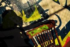 Spectre - 幽靈 (sunflowers&bubbletea) Tags: shadow portrait streetart colors graffiti chair alley neon wallart kansascity missouri shade spraypaint drips 影子 人像 椅子 塗鴉 輪廓 巷子 小巷 弄 nikond90 噴漆 側影 堪薩斯城 密蘇里州 sunflowersbubbletea 霓虹色 街道劃