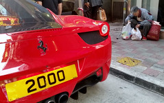 2000 (cowyeow) Tags: poverty china street city red urban car sign word asian hongkong funny asia 2000 dumb parking homeless ferrari licenseplate stupid parked bags wtf expensive juxtaposition 香港 causewaybay funnysign sportscar baglady funnychina funnyhongkong