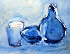 Blueish glasses, by Ana - DSC08852 (Dona Mincia) Tags: blue stilllife art glass vidro azul watercolor painting paper bottle arte bowl monochromatic study garrafa copo pintura aquarela monocromtico naturezamorta tonsurton tigela