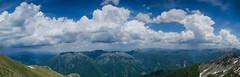 Evading the storm(s) (Gadjowsky) Tags: summer sky panorama mountain storm mountains clouds nikon hiking pano panoramic macedonia summit photomerge cloudporn bistra skyporn korab cloudsstormssunsetssunrises nikond5100