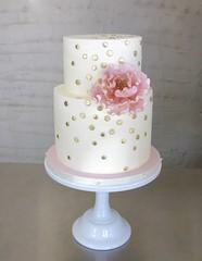Peony and Dot Cake (Sasabeth) Tags: peony gumpaste gumpastepeony fondantflower bridalshower bridalshowercake pinkandgoldcake weddingcake sugarflower
