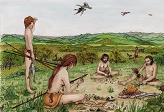 Mesolithic camp site (Wessex Archaeology) Tags: family camp archaeology illustration hunting weapon archaeological flint tool visualisation reconstruction mesolithic