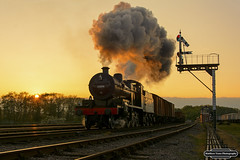 Somerset & Dorset Sunset (Matt Toms Photography) Tags: uk railroad travel sunset heritage train nikon unitedkingdom somerset steam railways tle steamtrain trackside greatcentralrailway wsr gcr 7f westsomersetrailway dorest 53808 d7100 railwayphotography timelineevents matthewtomsphotography