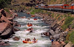 Royal Gorge Rafting (Jeff Carlson_82) Tags: railroad tourism train colorado scenic railway tourist rapids rafting co railfan riogrande arkansasriver royalgorge canoncity classiii drgw