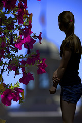Reflecting (swong95765) Tags: flowers woman female building past future reflecting thinking experiencing petunias blonde perspective