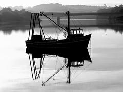 Morning Reflection (patrick_milan) Tags: noiretblanc blackandwhite noir blanc monochrome nb bw black white boat ship bateau mer sea finistre bretagne lannilis aberwrach aber wrach water reflection