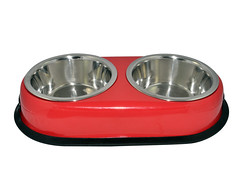 SKU 1700. aGLOW Anti Skid Twin Oval Dish (Red) (TranscendentPet) Tags: dogs cats dog cat rabbit guinea pig birds parrot petbowls feeders waterers feedingtime
