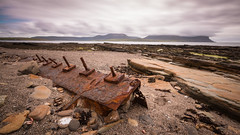 Good Steel (MBDGE) Tags: longexposure coastguard rescue green beach metal fishing orkney ship time stones steel shoreline cliffs hills norwegian lifeboat le nd hoy rusting wreck trawler sar stromness neutraldensity northernisles canon70d