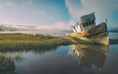 Just One More! (pixelmama) Tags: california reflection fog boat explore shipwreck fishingboat inverness abandonedboat pointreyesnationalseashore pointreyesshipwreck pixelmama analogefexpro