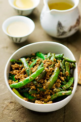 Fried green beans on Chinese (Zoryanchik) Tags: green beans food stir asian dinner dish fry chinese cuisine healthy vegetable meal garlic fried cooking cooked wok peas view plate bowl bean sauce