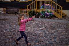 Catching a bubble! (Jekabs' Photography) Tags: bubble child girl kid canon motion running