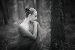 Chiara (francesco ercolano) Tags: wood portrait bw woman art girl beauty female dance ballerina dancer bn sorrento emotive