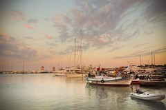 RHODES (mer nl) Tags: rhodes pier dock sunrise sunset reflections clouds boat sailing boats ship sea ocean travel nature