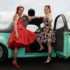 Rachael & Melanie_7040 (Fast an' Bulbous) Tags: girl girls woman women hot sexy car vehicle automobile willys coupe v8 fast speed power drag race strip track pits santa pod dragstalgia england people outdoor