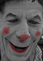Clown (WISEBUYS21) Tags: clown scary horrific horror pale ghostly red nose cheeks lips white face close up tynemouth village mouth tyne festival priory newcastleupontyne newcastle nykassuru nyukasl north east coast coastal evil kind sad nice circus pathos northsea film wisebuys21