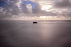 waddel beach rock (hbphototeach) Tags: approved waddel creek beach santa cruz county coast sunset clouds longexposure centered simple minimal