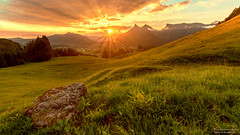 Sunrise in Gruyre (Emotions-photo.ch) Tags: trees sunrise morning forest beauty mountains blue sun clouds rock summer beautiful green mountain