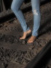 Slow And Easy (Professor Bop) Tags: professorbop drjazz olympusem1 bellowsfallsvermont railway tunnel woman bluejeans feet rails tracks traintracks rr railroad female
