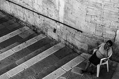 Elderly Woman, Alberobello, Puglia, Italy (Davide Tarozzi) Tags: elderlywoman alberobello puglia italy italia apulia ritratto portrait anziana donnaanziana vecchia donna step chair scalini sedia stair
