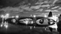 There must be bridges made out of love [b/w] (OR_U) Tags: 2016 oru uk hamptoncourt bridge river riverthames reflections thames le lamps lights longexposure night nightlights nightphotography diannereeves water motion movement sky clouds bw sw blackandwhite blackwhite schwarzweiss