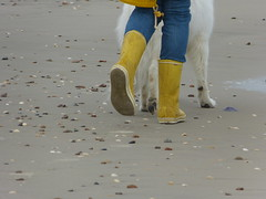 Dog walk (willi2qwert) Tags: rubberboots rainboots regenstiefel gummistiefel gumboots girl wellies wellingtons wasser women beach strand