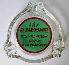 EL RANCHO MOTEL WILLIAMS ARIZONA (ussiwojima) Tags: arizona glass advertising williams motel ashtray elranchomotel
