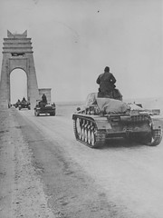 Column of tanks Pz.Kpfw.II 3rd Armored Division Wehrmacht Afrika Korps follow the highway Via Balbo